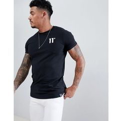 11 degrees muscle fit t-shirt in black with logo - black