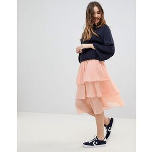 Monki Tiered Midi Skirt - Orange, w 4 rozmiarach