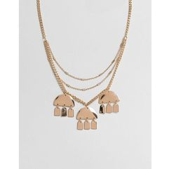 ASOS DESIGN multirow necklace with geo shape charms in gold - Gold