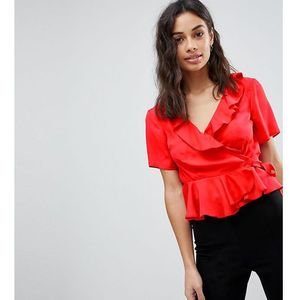ASOS PETITE Wrap Top with Ruffle Detail - Red, kolor czerwony