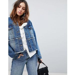 Current air collarless denim jacket with piercing detail - blue