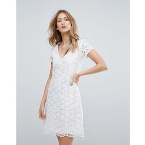 Traffic People V Neck Lace Shift Dress - White