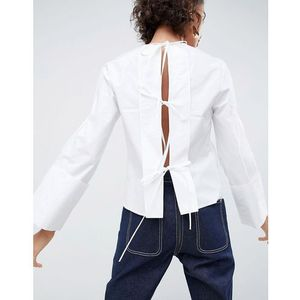 open back top with tie detail - white, Asos white
