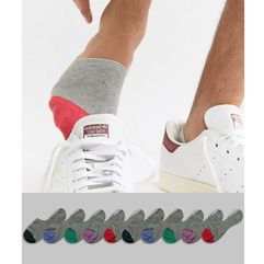 invisible liner socks in grey with contrast toes 10 pack - grey marki Asos design
