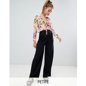 wide leg pleat trouser - black marki Boohoo petite