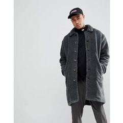 Asos borg overcoat in charcoal - grey