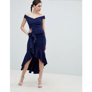 City Goddess Waterfall Pleated Maxi Dress - Navy, kolor niebieski