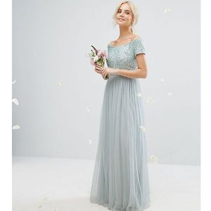 Maya petite bardot maxi dress with delicate sequins and tulle skirt - green