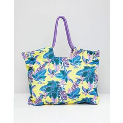 Monki tropical beach bag in yellow tropical - Yellow