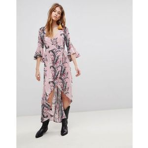 Glamorous Wrap Dress With Front Split In Palm Floral - Pink