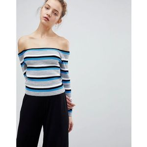 off shoulder jumper in fine stripe - blue, Daisy street
