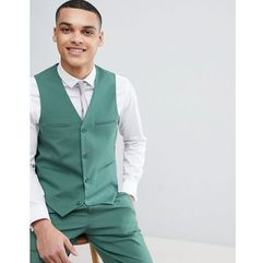 ASOS DESIGN Wedding Slim Suit Waistcoat In Pine Green - Green, kolor zielony