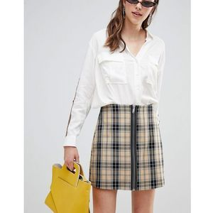 Stradivarius check a line mini skirt - beige