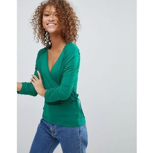 wrap top with tie side and ruched sleeve detail - green marki Asos