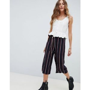 Love & Other Things Striped Culottes - Black