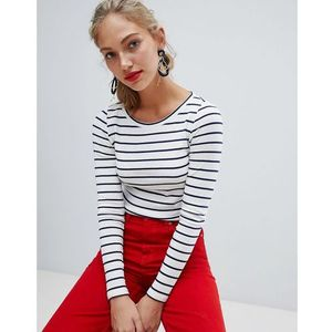 Esprit long sleeved striped top - white