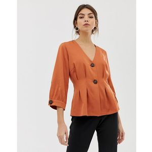 Y.A.S button through satin top - Orange