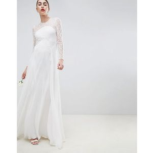 wedding dress with delicate lace - cream marki Asos edition