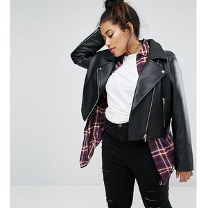 ASOS DESIGN Curve ultimate leather look biker jacket - Black, ramoneska
