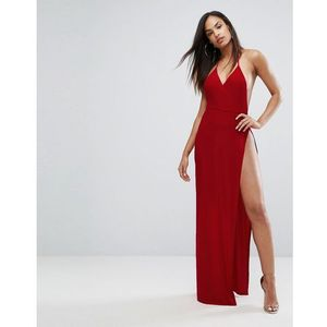 Club l slinky wrap front maxi dress - red