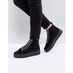 Asos abstract hiker ankle boots - black