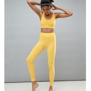 ASOS 4505 TALL Seamless Yoga Legging With Leopard Panels - Yellow, kolor żółty