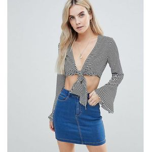 stripe tie front top - multi, Missguided petite
