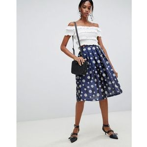 polka dot pleated prom skirt - blue marki Liquorish