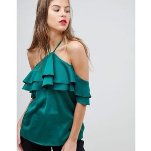 Y.A.S halter satin top - Green, kolor zielony