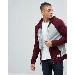 Abercrombie & fitch full zip hoodie contrast sleeve in burgundy/grey - red