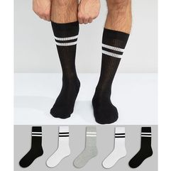 Asos design sports style socks 5 pack in monochrome - black