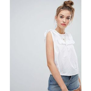 smock crop top with frill bib in broderie - white, Wednesday's girl