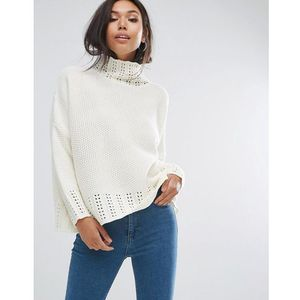 neck detail jumper - cream marki Prettylittlething