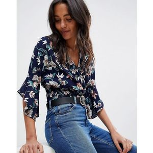 Ax Paris Floral Crop Top With Flute Sleeve - Navy