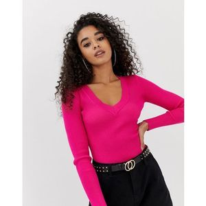 ultimate plunge knitted bodysuit - pink, Missguided