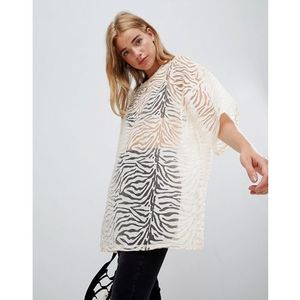 Glamorous relaxed top in zebra burnout - beige