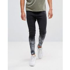 muscle fit drop crotch jeans in black with paint splat - black, 11 degrees