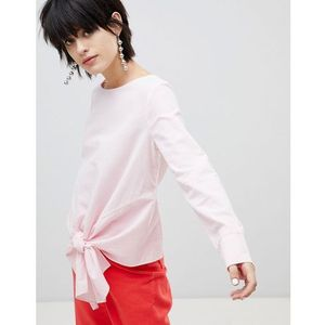 Pieces Striped Top With Knot Front - Pink