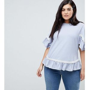 Lost Ink Plus Smock Top In Rib With Lace Trim - Blue