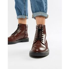 anarchy leather lace up boots - red marki Asos design