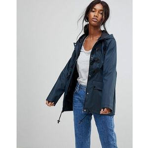 trucker rubberised coat with duffel fastenings - navy marki Brave soul