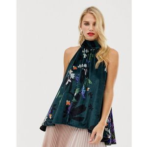 lisette olivier floral print velvet halterneck top - blue, French connection