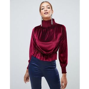 Boohoo velvet high neck top in red - Red