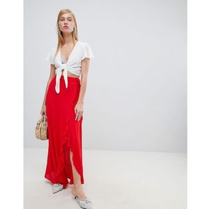 New Look Wrap Frill Maxi Skirt - Red