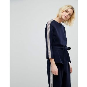 Whistles side stripe tie waist blouse co-ord - navy