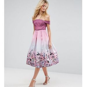 Asos tall salon floral ombre midi prom dress - pink marki Asos edition