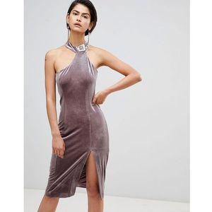 velvet high neck assymetric dress - pink, Forever unique