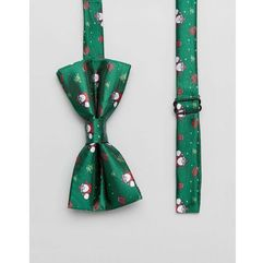 christmas tree present print bow tie - green marki 7x