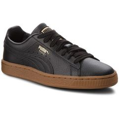 Puma Sneakersy - basket classic gum jr 366668 01 puma black/metallic gold