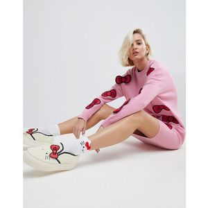 Hello kitty x midi knitted dress with 3d bow detail - pink, Asos